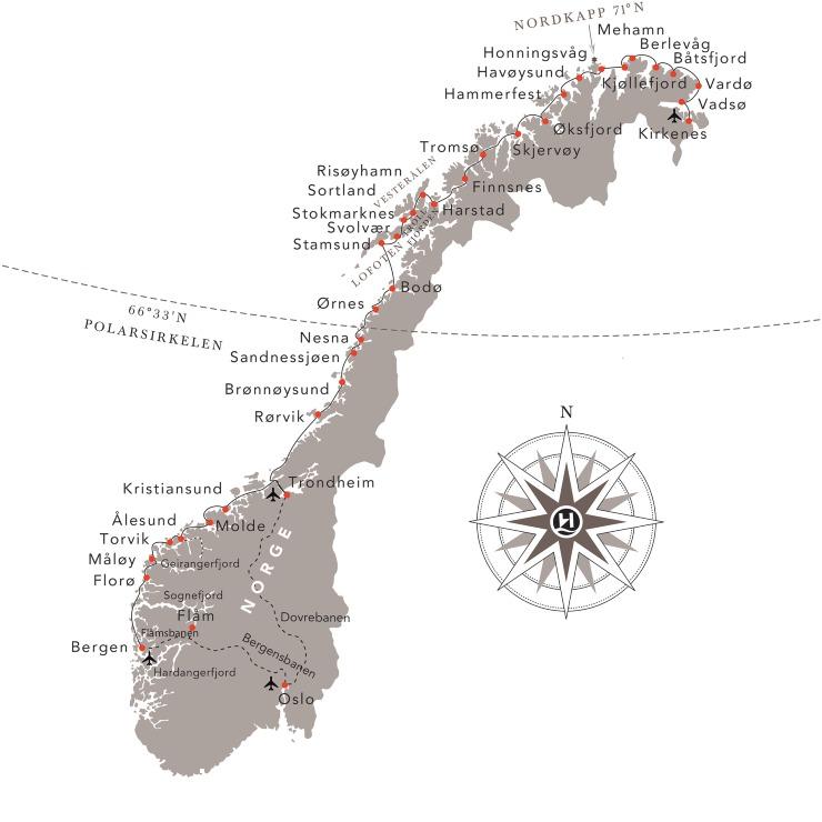 Karta över Hurtigrutens alla stopp
