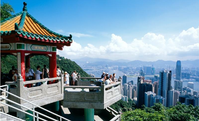 Bild tagen från utsiktsplats i Hong Kong
