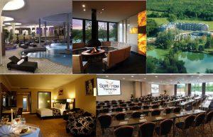 Collage av bilder från Spirit Hotel i Ungern
